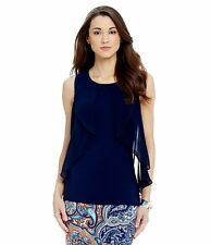 NWT Antonio Melani Dalia Sleeveless Knit Top Navy L $79 Dillard's