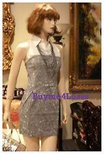 Junior BOHO Ivory Gray Tie Dye Sports Sleeveless Zip Cotton Denim mini Dress