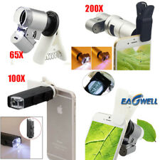 65X 100X 200X Zoom Clip-on Microscope Phone Camera Lens W/LED For iPhone Samsung