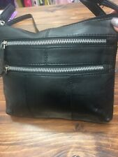 Brand New Black Leather Bag Adjustable Long Strap Zip Fastening