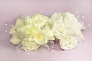 15 Head Rose Calla Lily Flower Bouquet Real Touch Wedding Bridal Pearl Decorated