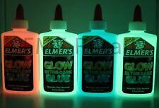 Elmers GLOW IN THE DARK Color Glitter Glue 4 pack Blue Pink &2 Green Gr8 4 Slime