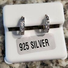 """925 STERLING SILVER 1/2 CARAT TW ROUND CUT CZ 1/2""""  HUGGIE HOOP EARRINGS"""