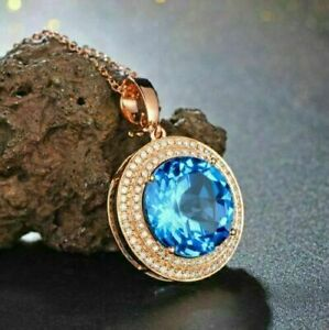 5.25 CT Round Cut Blue Topaz Double Halo Pendant 14K Rose Gold Finish Free Chain
