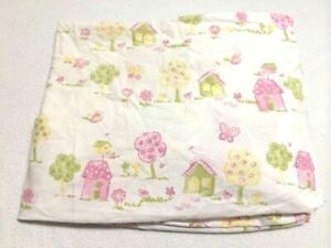 Pottery Barn Kids Hayden Pink White House Tree Bird Butterfly Fitted Crib Sheet