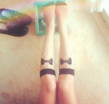 NEW Women Girls Street Snap Sweet Bows Dot Knee High Socks Transparent Stocking