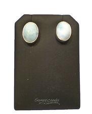 Orecchini ovali in Vero turchese Naturale con perno in Argento 925 Made In Italy