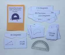Teacher Made Math Center Resource Game Measuring Angles with Protractor Puzzles