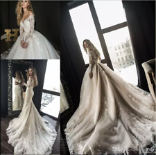 Gorgeous Mermaid Wedding Dresses With Detachable Train Long Sleeves Lace Bridal