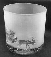 More details for stag / deer frieze 17cm crystal glass column vase / candle holder