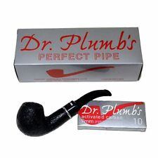 Dr Plumb Dinky 9mm Briar Pipe - Black Sandblast - 4518B (inc 10 filters)