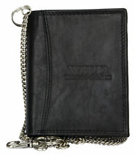 Black genuine leather biker's wallet Wild with 50 cm (20 in) long chain