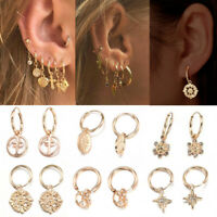 Unique 18K Gold Filled Cartilage Ear Studs Hoop Earrings Dangle Drop Jewelry