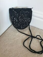 Ladies Small  Black Bag  Sequins - Beads  With Strap