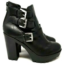 River Island Ladies UK 5 Leather Cleats Platform Ankle Boots Straps Chunky Zip