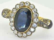 MUSEUM antique Victorian MEMENTO MORI SKULL 18k Gold,3ct Diamonds&Sapphire ring
