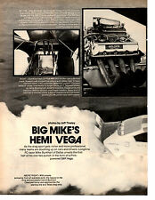 1973 HEMI VEGA FUNNY CAR DRAG RACING - MIKE BURKHART  ~  ORIG 2-PAGE ARTICLE /AD