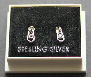 STERLING SILVER 925, STUD EARRINGS, SMALL ZIP TAB 9mm x 4mm STUD 22, FREE P&P UK