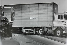 "12 By 18"" Black & White Picture Mercedes crushed under freightliner truck"