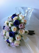 IVORY,ORCHID & VIOLET ROSES POSY 45 BUDS WEDDING  BOUQUET ARTIFICIAL SILK FLOWER