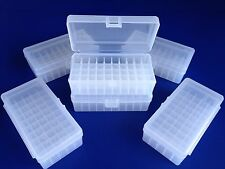 6 pack of 50 round plastic ammo boxes, Lp-50 Lrg Pis, 44 mag 41 mag 45 long colt