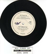 "PAT BENATAR All Fired Up  7"" 45 rpm vinyl record + juke box title strip"