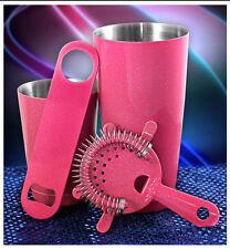 4 Piece Bartender Pink Glitter Bar Set