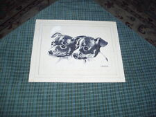 Vintage Hand Drawn Pen & Ink TERRIER PUPPIES DOG Drawing Signed: H. Blumenfeld