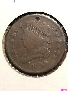 1809 Classic Head Copper Half Cent, hole     INV09      P906