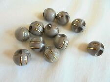 New listing Lot of 11 Vintage Art Deco Gray Plastic with Metal Trim Ball Shape Buttons