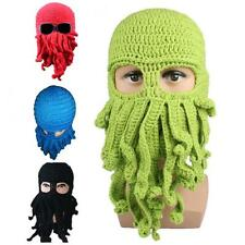 Octopus Pattern Beanies Knitted Wool Face Mask Knit Hat Pirate Squid Halloween
