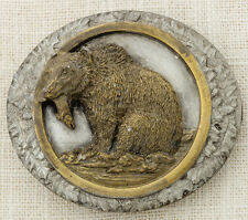 Grizzly Bear Belt Buckle Fish Bergamot Brass Works 1985 Made In USA Vintage 16B