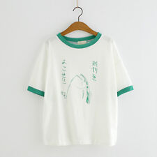 Women Girl's Japanese T-shirt Fish Graphic Short Sleeve Loose Blouse Top Novelty