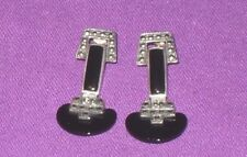 Art Deco Sterling Silver With Black Onyx & Marcasite Dropper Earrings Vintage