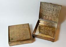 Persian brass / white metal box pair Cigar size solider hand engraved image