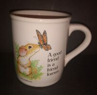 """Vintage Ceramic Current 1984 MOUSE & BUTTERFLY """"Good Friend is.."""" mug cup Japan"""