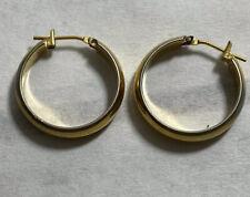 plain gold tone hoop pierced earrings