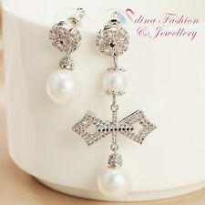 18K White Gold GP Cross Snowflake Diamond Studded Pearl Long & Short Earrings