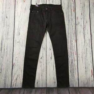 Men's True Religion Jeans 30 Waist 30 Leg Tony Skinny Fit in Black Stretch Denim