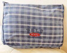 """POLO RALPH LAUREN LRL Pillow Toss Bolster Throw Embroidered Blue Plaid  20""""x14"""""""