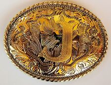 "INITIAL "" J ""  RODEO COWBOY LETTER SHINE GOLD SILVER WESTERN BELT BUCKLE"
