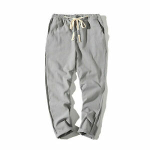 Unisex Pant Casual Cotton Blend Linen Loose Drawstring Yoga Trousers Elasticated