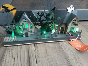 MARTHA STEWART Wooden Halloween Haunted Village House Ghost LED Lighted ~NEW~