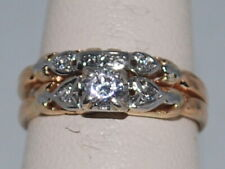 10k ring with CZ and a double ring design