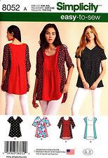 Simplicity Sewing Pattern 8052 Women's XXS-XXL Tops Tunics easy to sew
