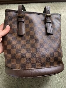 100% Authentic LOUIS VUITTON Damier Marais Bucket Shoulder Bag