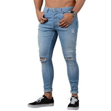 Newly Casual Men Denim Skinny Stretch Pant Distressed Ripped Slim Jeans Trousers