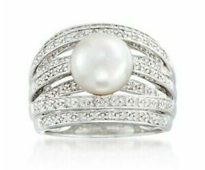 Pearl - Diamonds - Sterling Silver - ROSS SIMONS - Ring - Size 8