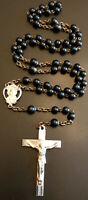 Vintage Catholic Black Matte Glass 5 Decade Rosary, Silver Tone Crucifix, Italy
