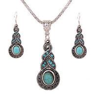 Turquoise Tribal Necklace Earrings Vintage Tibetan Silver Women Jewellery Set